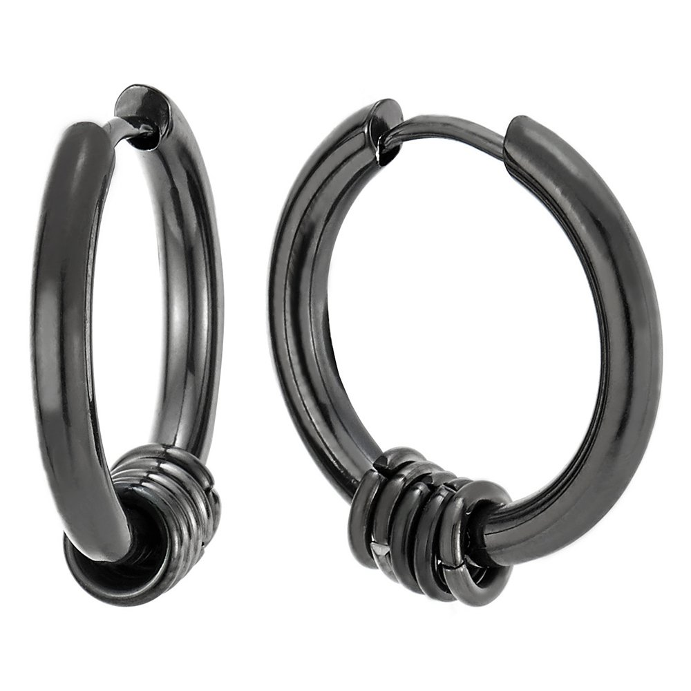 Steel Black Circle Huggie Hinged Hoop Earrings with Small Circle Ring Charms for Men Women, 2pcs