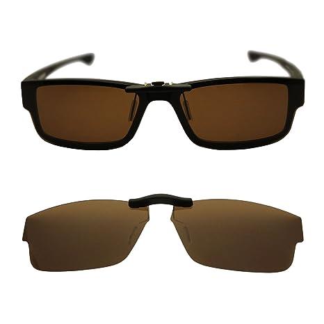 34310a28edc Custom Polarized Clip On Sunglasses for Oakley Oakley Airdrop 57 OX8046  57-18-143 (Brown) - - Amazon.com