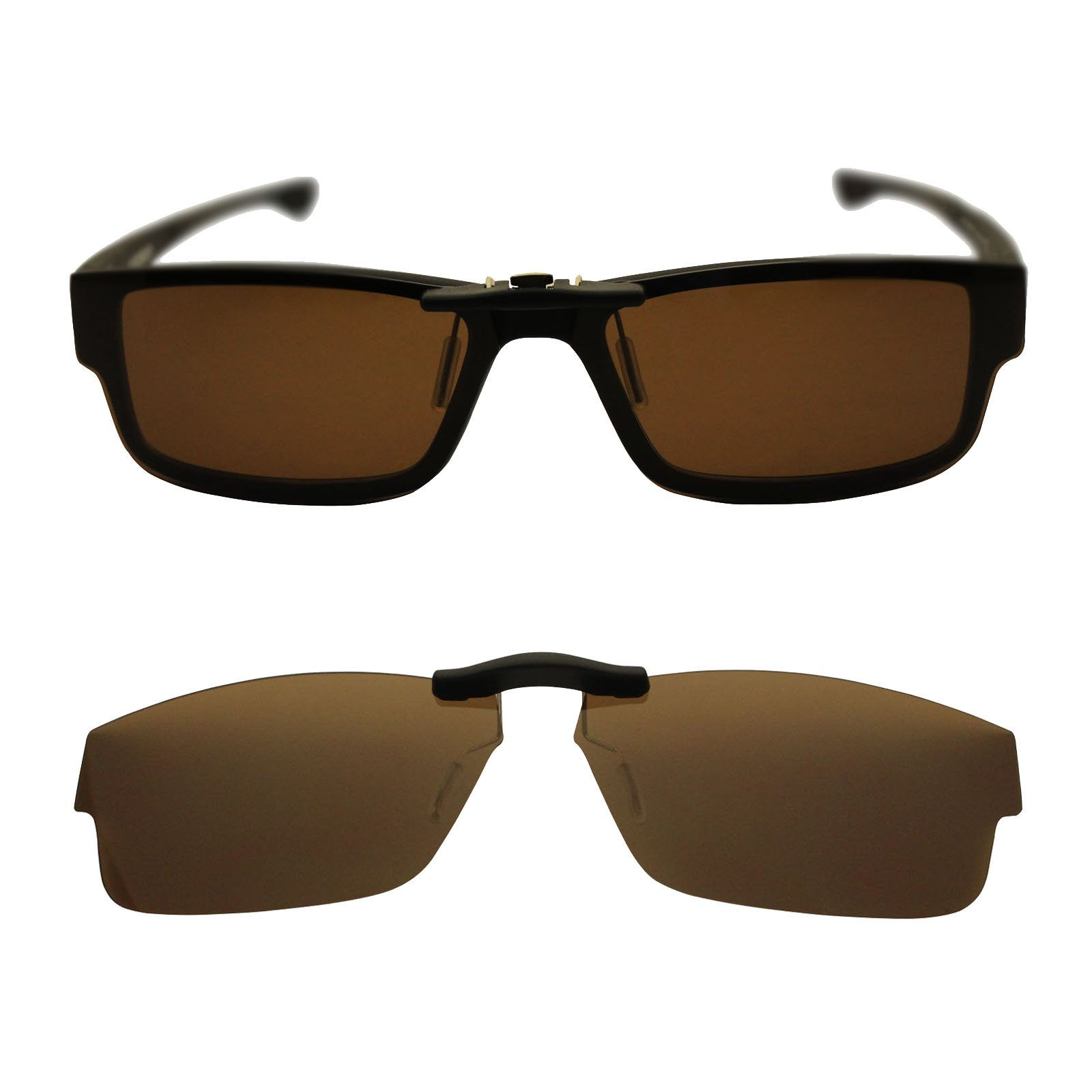 Custom Polarized Clip On Sunglasses for Oakley Oakley Airdrop 57 OX8046 57-18-143 (Brown)
