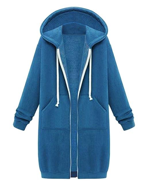 nuevo estilo a58f3 dad7d Mujer Sudaderas con Capucha Largas Sweatshirt Cremallera Hoodies Jersey  Abrigos Chaquetas