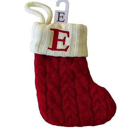 st nicholas square mini cable knit stocking letter e mini 7