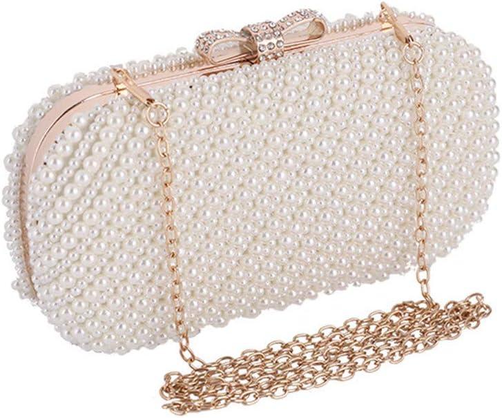 YFYBF Caso Perla delle Donne da Sera in Rilievo frizioni Bag Festa di Nozze della Borsa della Borsa Elegante Cena Nuziale Frizioni Hard,Argento Silver