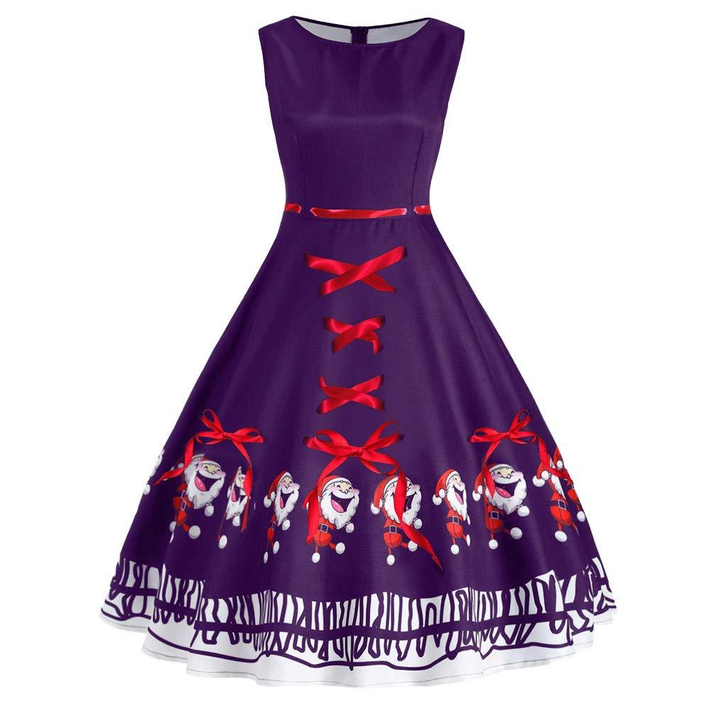 Chaofanjiancai Fashion Women Sleveless Vintage Plus Size Santa Claus Bow Print Christmas Swing Dress