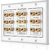 5 6 7.1/7.2 o 8.1/8.2 uno o dos subwoofer compatible con 16 postes de plátano y 2 placa de pared de altavoz RCA para audio de