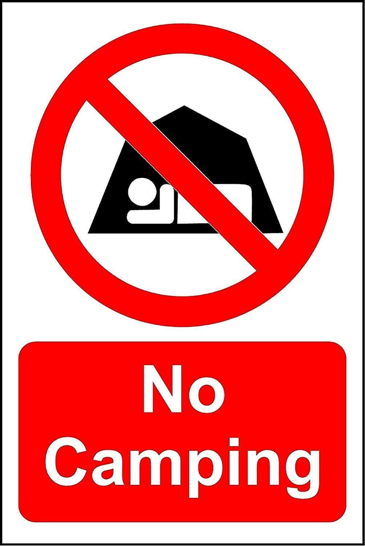 Señal de Seguridad con Texto en inglés No Camping Security, 3 ...
