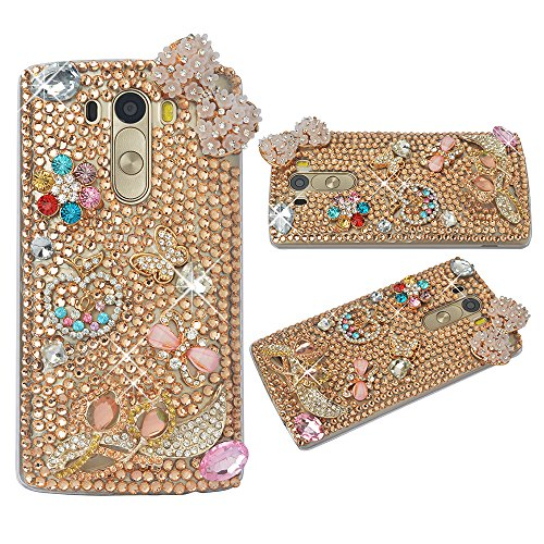 Spritech(TM) Clear Hard Bling Phone Case for LG G Stylo 2 LS775/LG Stylus 2 K520,Handmade Gold Crystal Flower Accessary Design Cellphone Cover