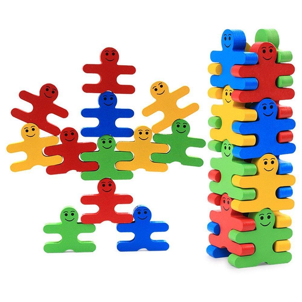 16 Stück Bausteine Holz Cartoon Pädagogisches Gleichgewicht Blöcke für Kinder DIY Stapeln Block Gebaut Spielzeug Geschenk Für Kinder Früherziehung Spielzeug von Colleer SP1
