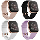 TECKMICO 4-Pack Bands Compatible with Fitbit Versa 2,Sport Bands Replacement for Fitbit Versa/Versa 2/Fitbit Versa Lite with Rose Gold Watch Buckle for Women