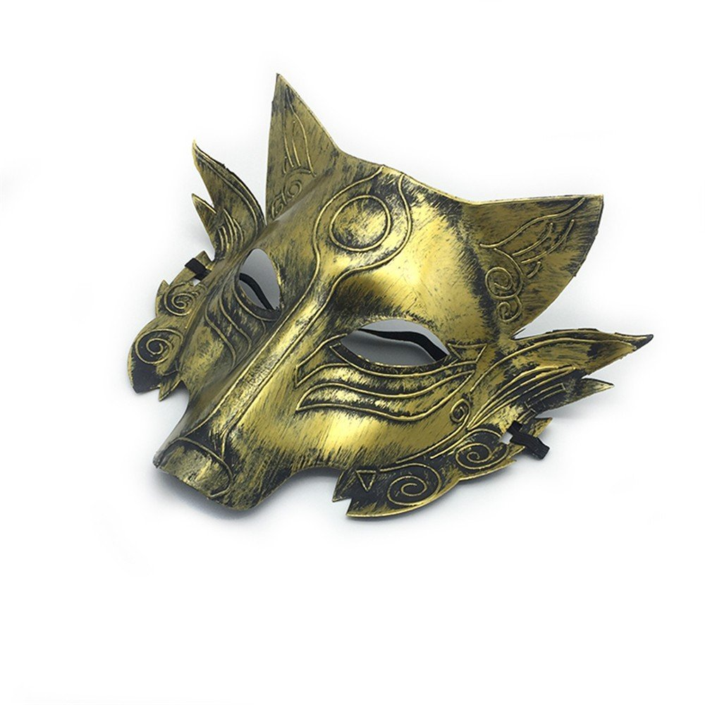 Face mask Shield Veil Guard Screen Domino False Front Halloween Makeup Dance Wolf Head Horror mask Party Animal Werewolf Killing Game Full face mask Gold