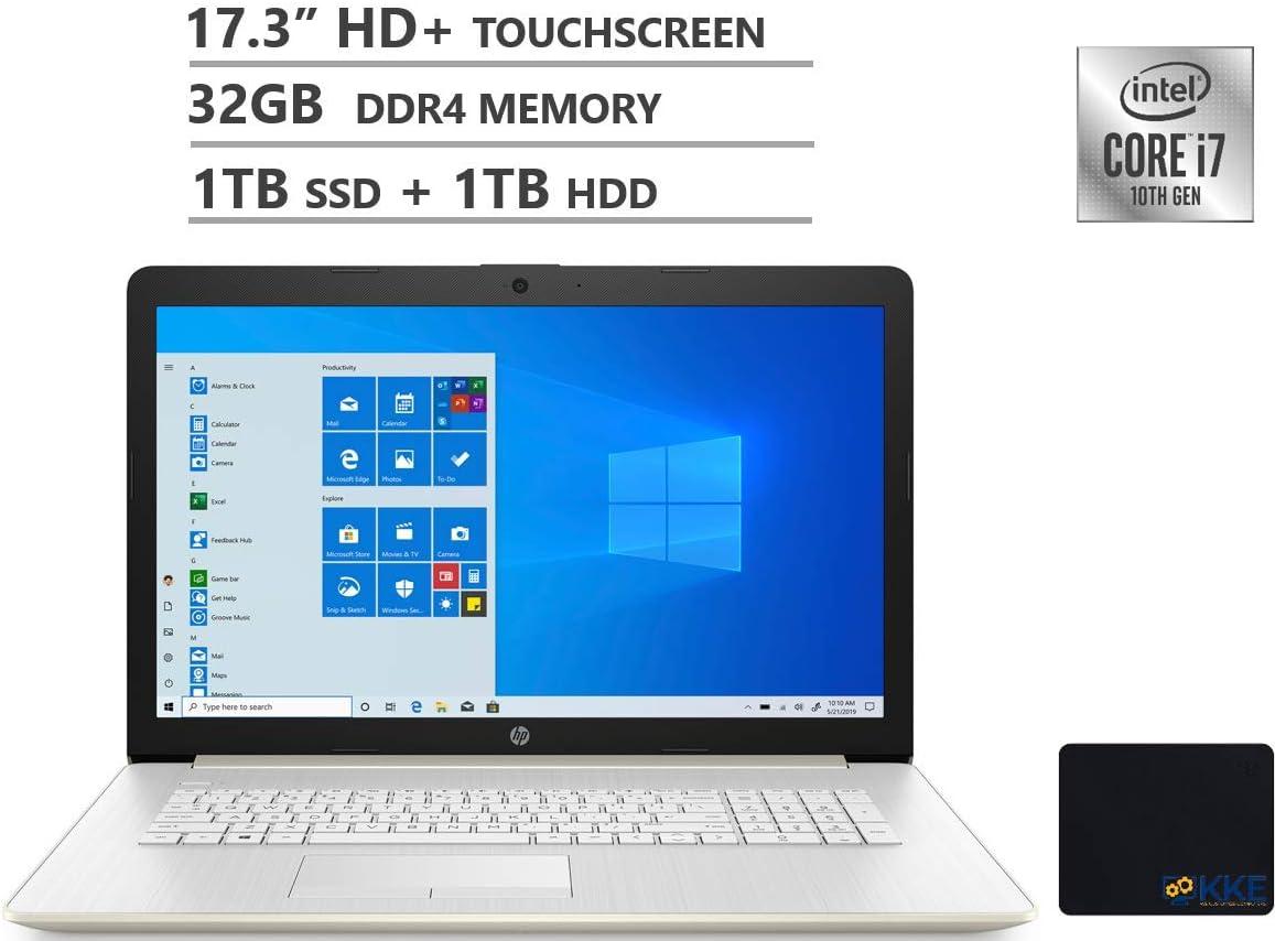 "HP Laptop, 17.3"" HD+ Touchscreen, Intel Core i7-1065G7 Processor up to 3.9GHz, 32GB DDR4 Memory, 1TB PCIe SSD + 1TB HDD, Webcam, DVD-WR, HDMI, RJ-45, WiFi, Win10 Home, Gold, KKE Mousepad"