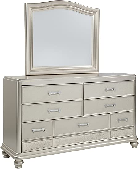 Ashley Furniture Signature Design – Coralayne Dresser Beveled Mirror – Traditional Glam Chest of Drawers – Silver
