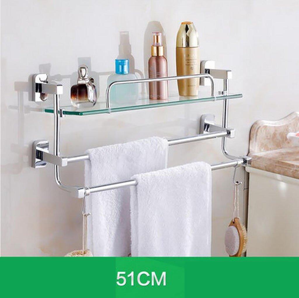 YAOHAOHAO Bathroom shelving bath rooms, glass on a shelf, shelf, TOILET BATH ROOMS Bath Rooms rack with double glazing, bath rooms towel rail (Size: 51 cm).