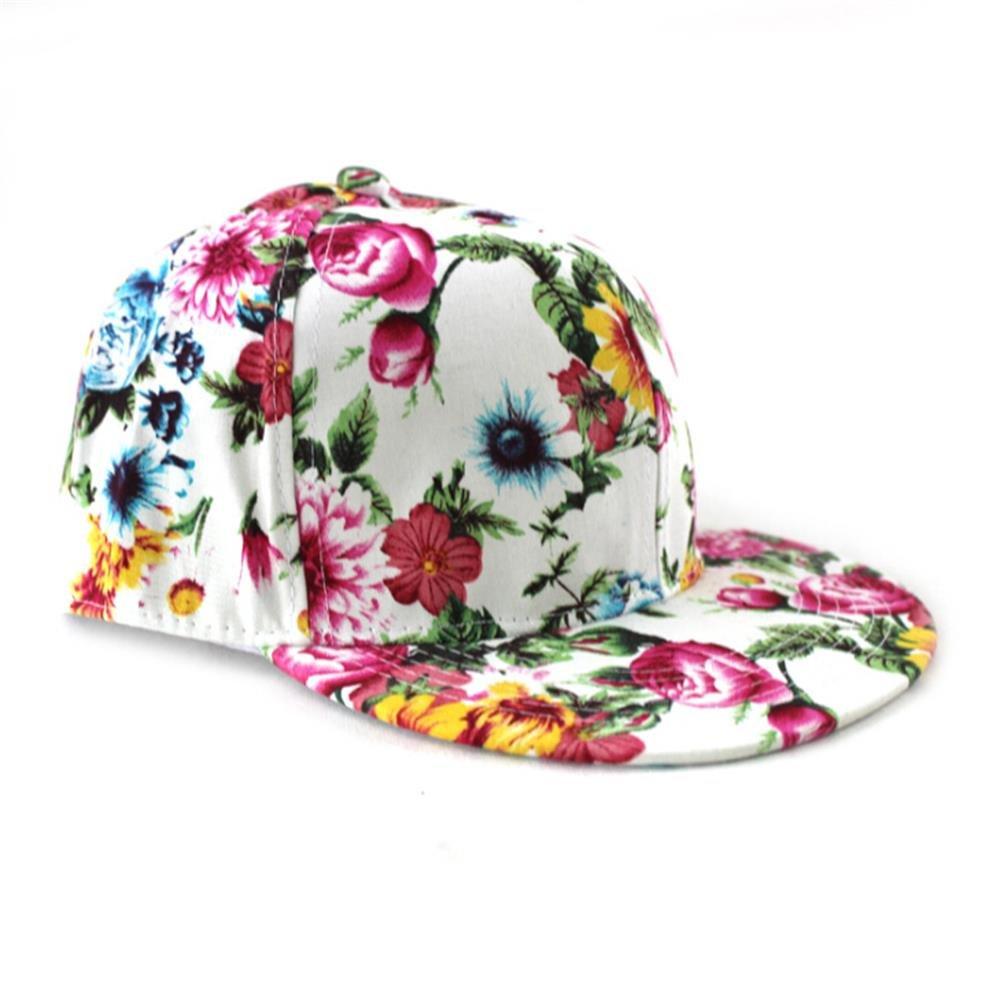 Unisex Flower Floral Print Hip Hop Snapback Hat, Adjustable Baseball Cap, 2 colors