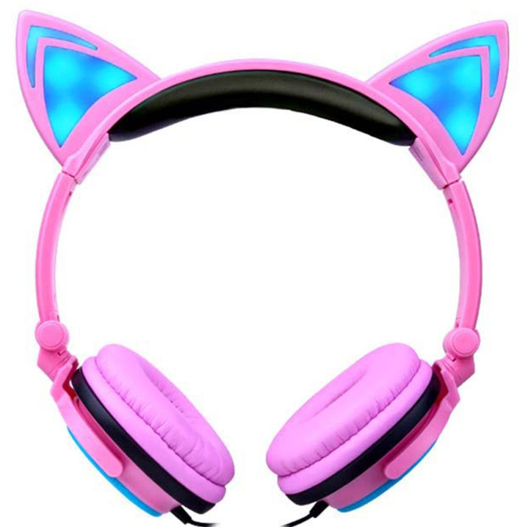 Nacome Cat Ear Headphones for Girls - Gaming Cosplay Geadphones Wireless Over Ear Bluetooth Headsets with LED Music Lights