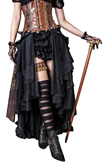 06c2e9bda7a HaoLin Steampunk Retro Victorian Punk Cincher Lace up Long Ruffle Pencil  Skirt