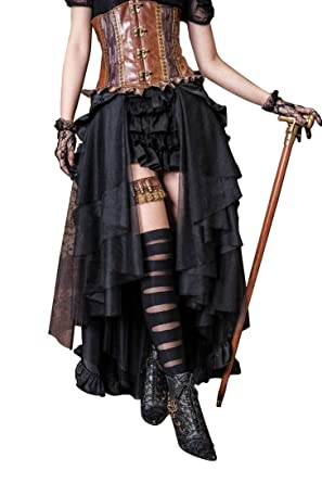 e06149b6be9e Steampunk Dress Gothic Clothing Pirate Costume Retro Victorian Punk Cincher  Lace Up Long Ruffle Pencil Skirt