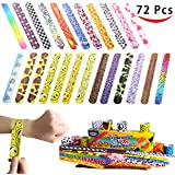 Joyin Toy 72 PCs Slap Bracelets Party Favors Pack (24 Designs) with Colorful Hearts Animal Emoji