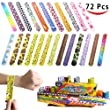 Joyin Toy 72 PCs Slap Bracelets Party Favors Pack (24 Designs) with Colorful Hearts Animal Emoji Valentine\'s Prints