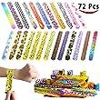 Joyin Toy 72 PCs Slap Bracelets Party Favors Pack (24 Designs) with Colorful Hearts Animal Emoji Valentine\'s Prints