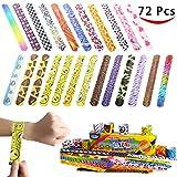 Joyin Toy 72 PCs Slap Bracelets Party Favors Pack (24 Designs) with Colorful ...