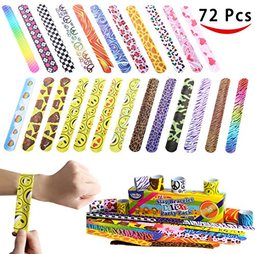 JOYIN Toy 72 PCs Slap Bracelets Party Favors Pack (24 Designs) with Colorful Hearts Animal Emoji -