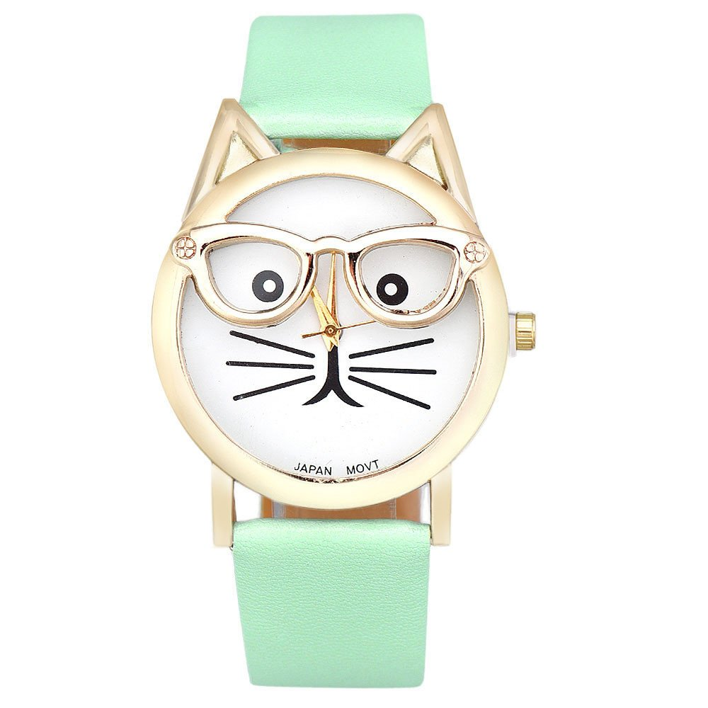 Womens Quartz Watch COOKI Clearance Cat Analog Female Watches Lady Watches on Sale Leather Watch-H82 (Blue)