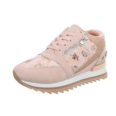 13716365f6729f Ital-Design Sneakers High Damen-Schuhe Keilabsatz Wedge Schnürsenkel  Freizeitschuhe Altrosa