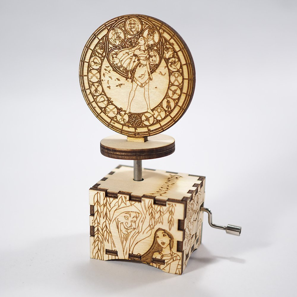 Pocahontas Music Box - Color Of The Wind - Laser cut and laser engraved wood music box. Perfect gift, memorabilia or collectible