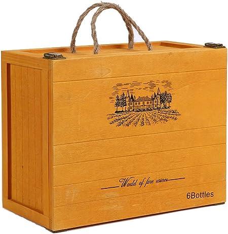 Lshky Madera Caja De Vino Retro Seis Botellas Amarillo con Cerradura De Metal Y Diseño De