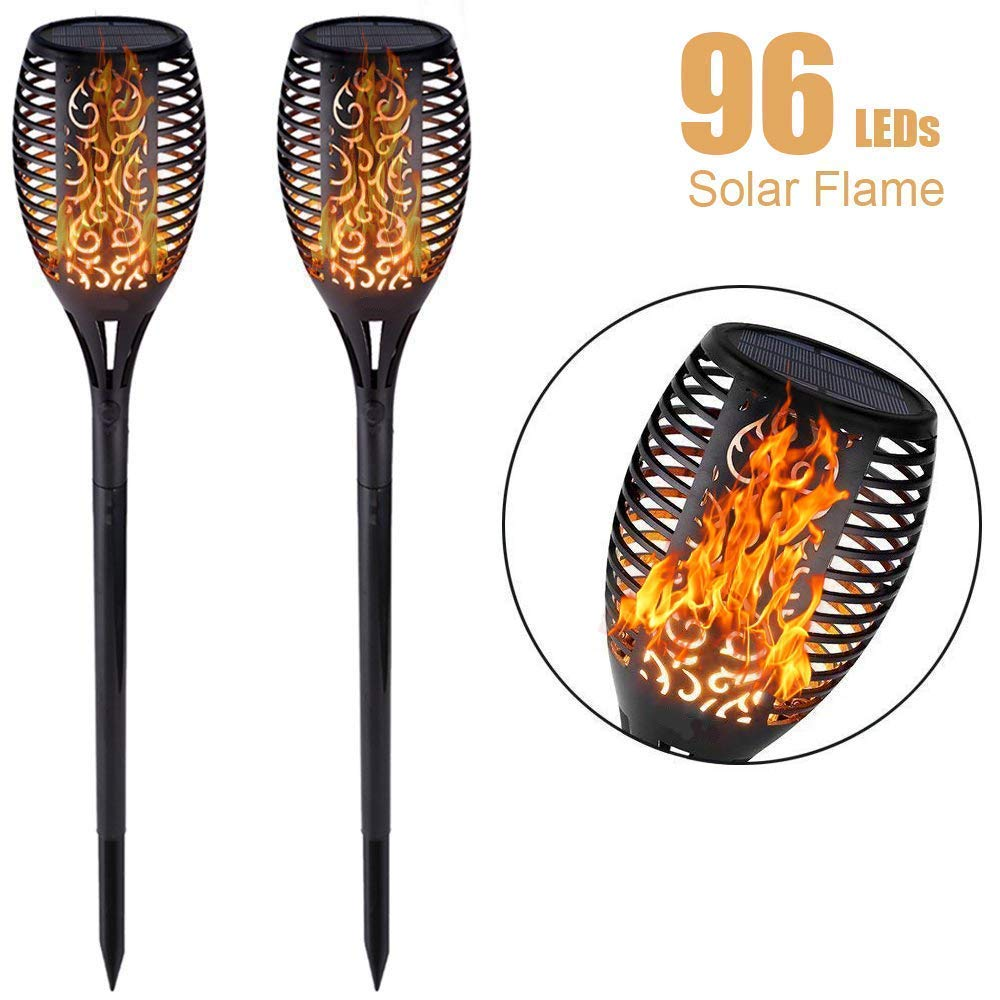 XTREME SOL Solar Powered Outdoor Torch Lights- Flickering Flames Path Lights- 96 LED Tiki Torches- Waterproof Yard & Garden Decoration- Dancing Flames Lantern Lamps- 2 Pack