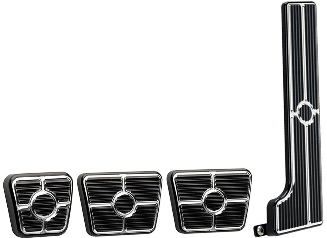NEW BILLET SPECIALTIES BLACK ANODIZED 58-64 CHEVY PEDAL KIT FOR MANUAL TRANSMISSIONS INCLUDING GAS PEDAL ASSEMBLY, CLUTCH PAD, BRAKE PAD, AND E-BRAKE PAD, 58-64 BEL AIR, BISCAYNE, BROOKWOOD, IMPALA