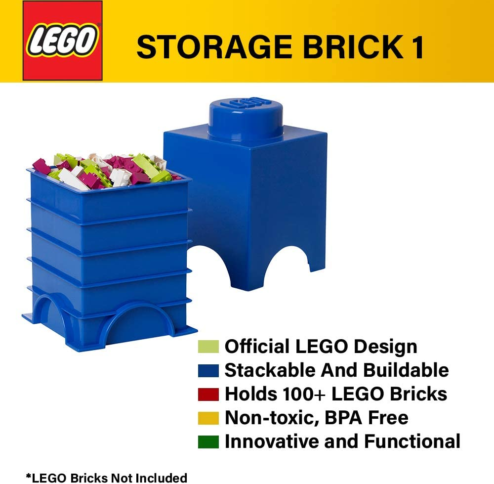 LEGO Storage Brick 1 – Stackable, Creative Toy Organizer Blocks and Toys I Space Saving Container | Ages 3+, 1- Stud, White