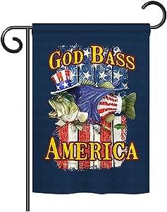 "Breeze Decor G161087 God Bass America Americana Patriotic Impressions Decorative Vertical Garden Flag 13"" x 18.5"" Printed In USA Multi-Color"