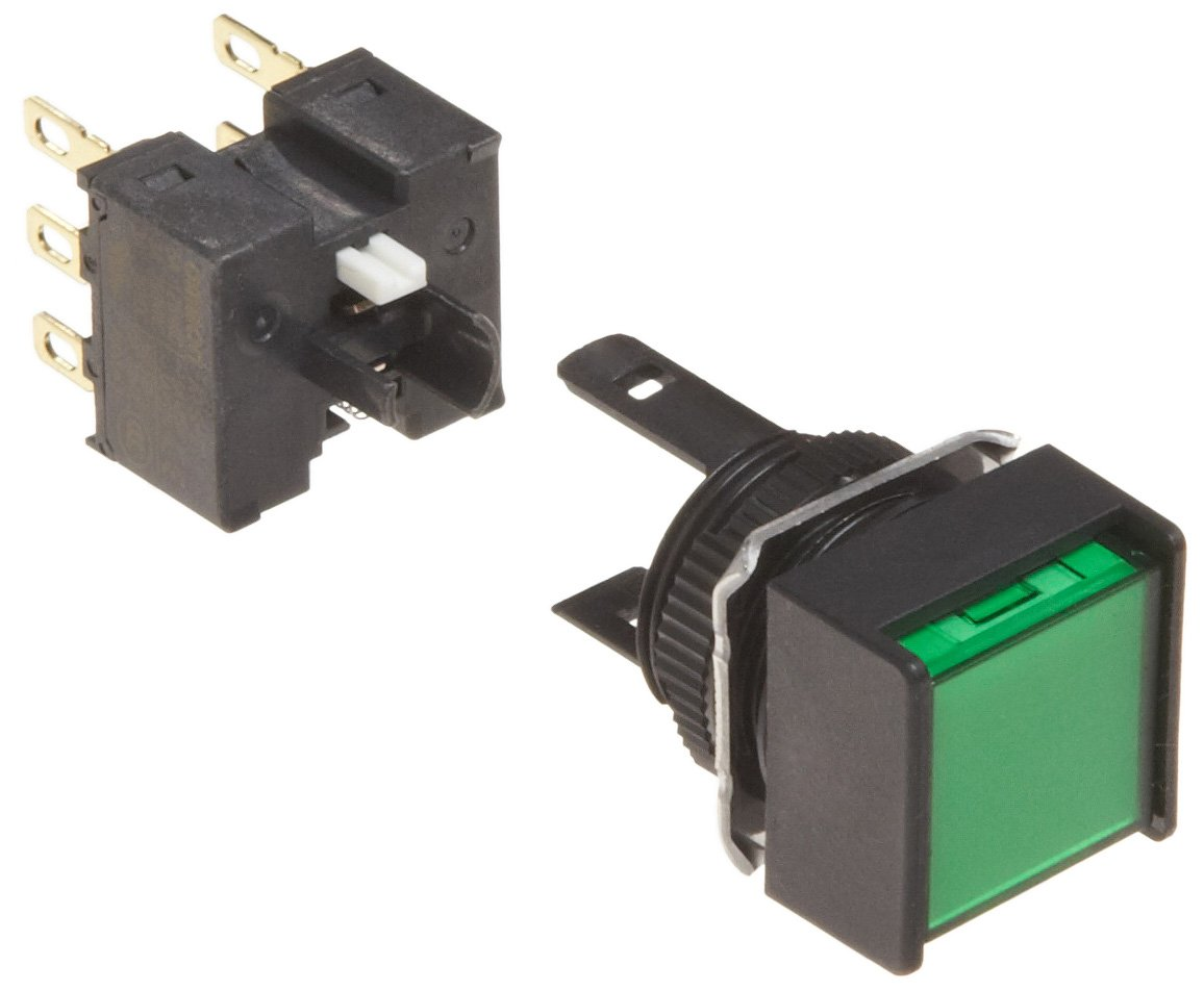 Omron A165-AGM-2 Two Way Guard Type Switch, Solder Terminal, IP65 Oil-Resistant, Non-Lighted, Square, Green, Momentary Operation, Double Pole Double Throw Contacts