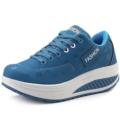 e47d4a44df69 Solshine Damen Fashion Plateau Schnürer Sneakers mit Keilabsatz Walkmaxx  Schuhe Fitnessschuhe Blau 35EU