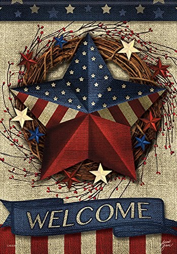 Carson Home Accents FlagTrends 46800 Welcome Patriotic Barn Star Classic Outdoor Garden Flag, Primitive Patriotic Barn Star