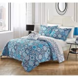 3 Piece Girls Medallion Floral Theme Quilt Set Twin Size, All Over Elegant Abstract Mandala Motif Pattern, Geometric Printed Reversible Bedding, Hippy Indy Bohemian Style, Vibrant Colors Teal Blue