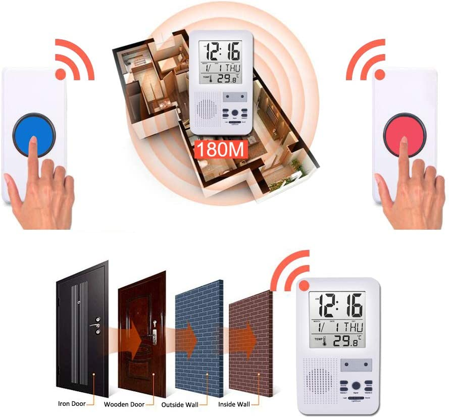 ALEENFOON Patient Alert Alarm System Wireless Pager Home Safety Emergency Call Button Doorbell Kids Handicapped Elderly Monitor Caregiver Personal Pager with Thermometer Alarm Clock Date Function