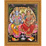 Avercart Lord Vishnu / Shree Vishnu / God Vishnu / Narayana Hari with Laxmiji / Goddess Lakshmi / Vishnu and Laxmi Poster 21x28 cm with Photo Frame (8.5x11 inch framed)