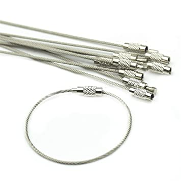 BiiYo Screw Locking Stainless Steel Wire Keychain For Men Women (10Pcs)   Amazon.in  Bags 5045a9b75