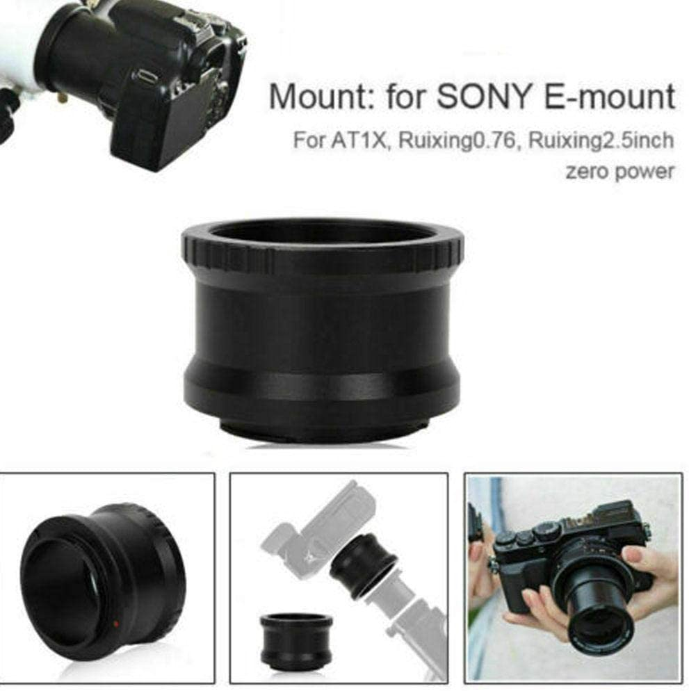 Bewinner Camera Lens Converter,48MM Black Aluminium Alloy Telescope to for NEX Mount Mirrorless Camera Adapter Ring,Lightweight and Portable,Useful Accessory for Photography Lovers