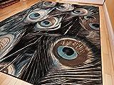 Premium Soft Black Peafowl Pattern Area Rugs, Large 8×11 Living Room Rug