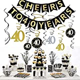 JeVenis 40th Birthday Party Decorations Kit Cheers to 40 Years Banner Celebration 40 Hanging Swirls for 40 Years Old Party Supplies 40th Anniversary Decorations