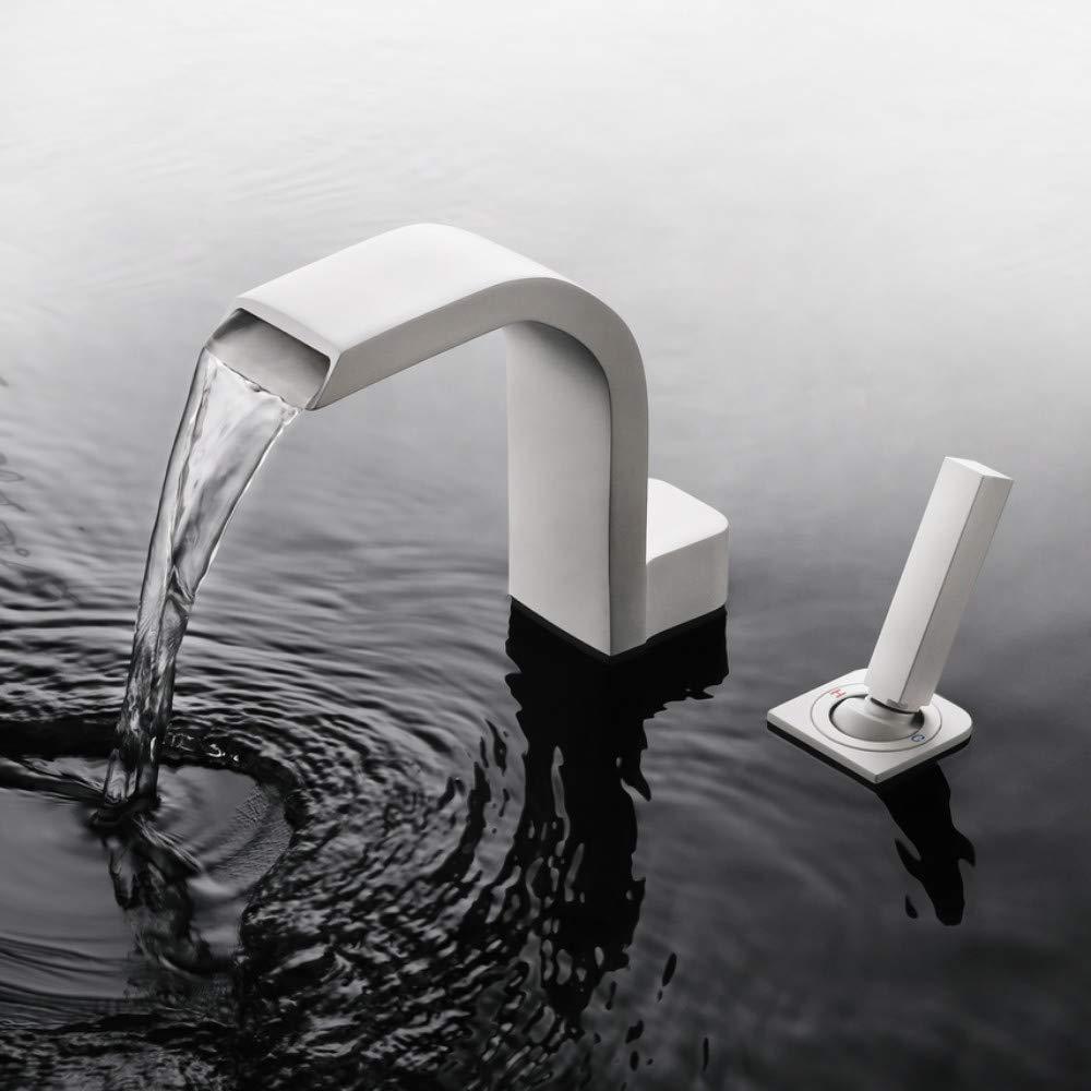 Lddpl Skowll Single Handle 2 Hole Waterfall Sink Faucet Bathroom Deck Mount Basin Sink Taps Matte White Finished