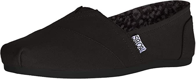 BOBS from Skechers Women's Plush Peace and Love Flat,Black,8 M US