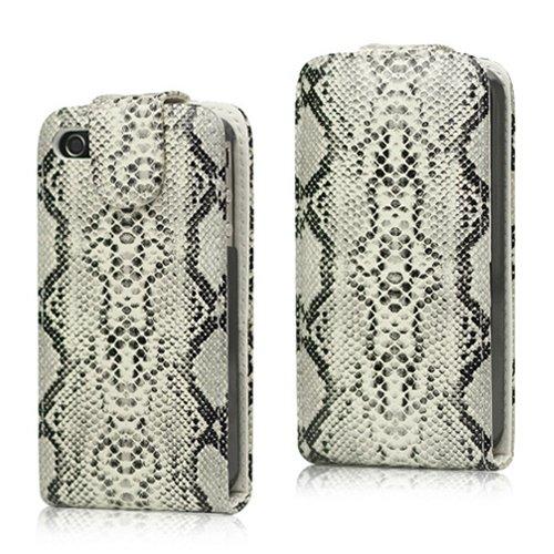 Apple iPhone 4 4G 4S Flip Case Tasche Klapp Etui Snake Schlangenhaut Magnet Skin