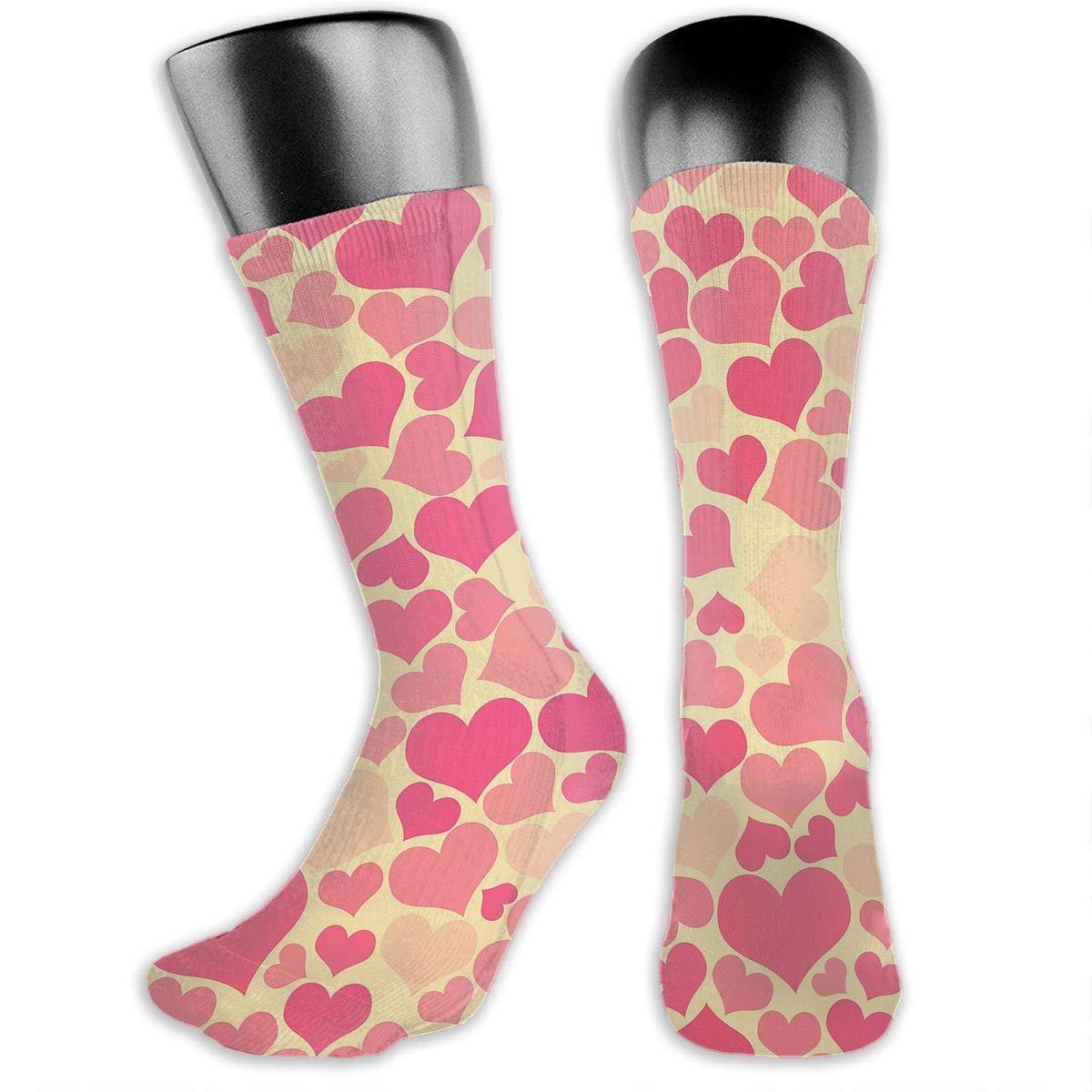 Heart Pattern Mens Dress Socks Novelty Crew Socks 15.7
