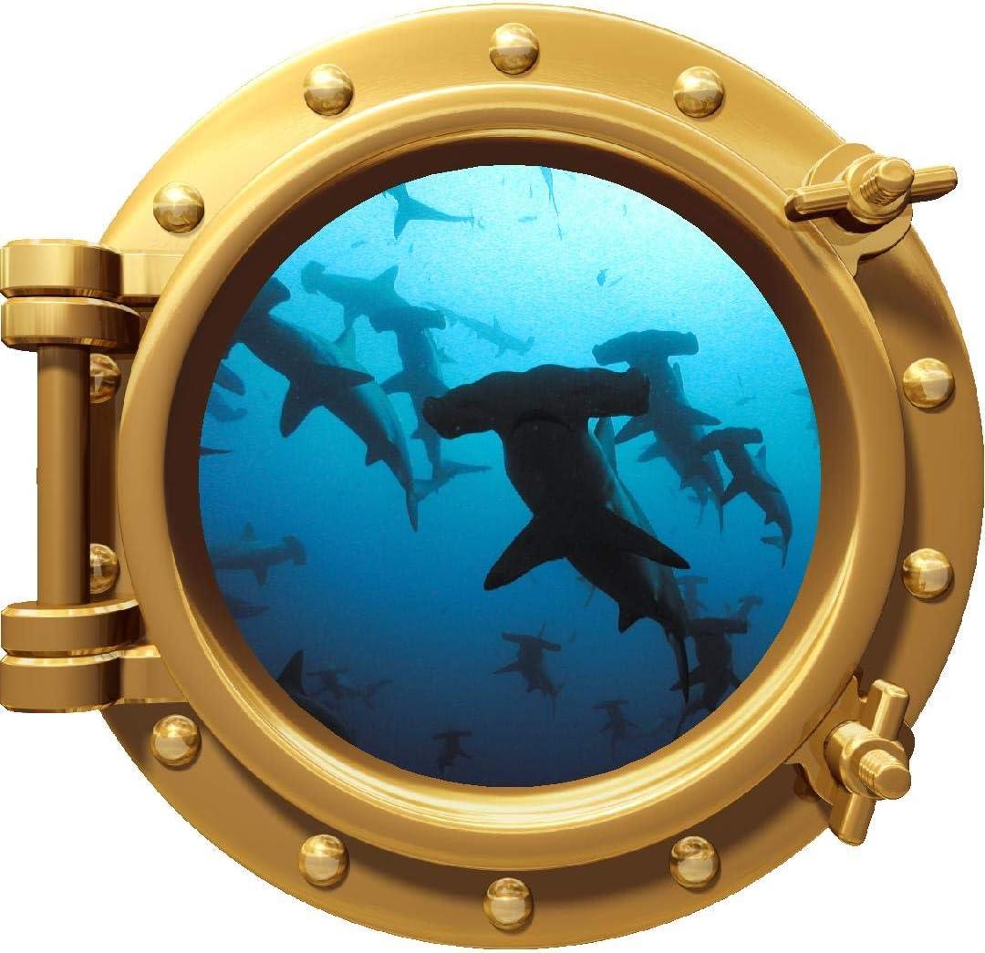 1X Shark Ocean View Wall Sticker 3D Porthole Window Kids Room Home Decor Art SX