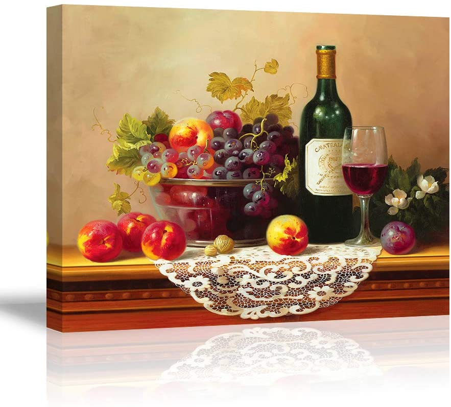 Retro Wine Pictures for Kitchen, PIY Vibrant Fruits Wall Art for Dining Room, Canvas Prints Oil Painting Reproduction of Vintage (Waterproof Artwork, Bracket Mounted Ready to Hang)