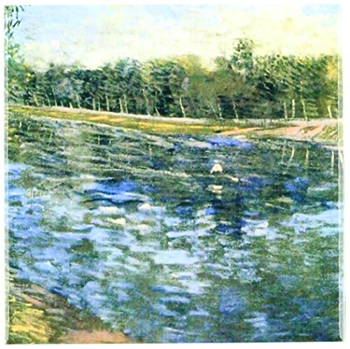 3dRose ct_119503_1 Picture of Van Gogh Painting Seine with a Row Boat Ceramic Tile, 4-Inch